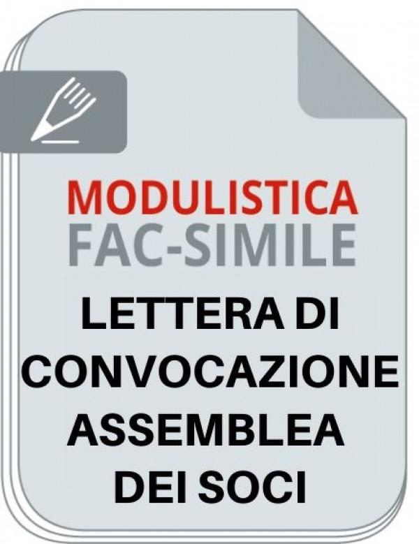 Facsimile lettera di convocazione assemblea soci