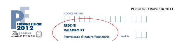 quadro RT modello redditi