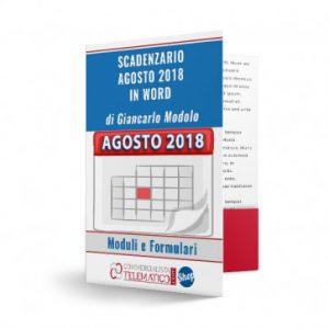 Scadenzario Agosto 2018