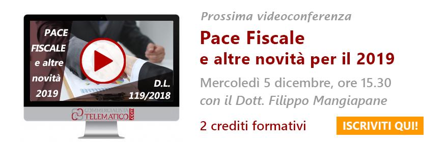 videoconferenza in diretta sulla pace fiscale e altre novità per il 2019