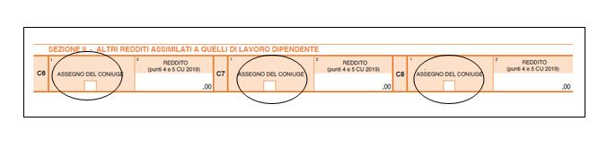 730 2019 quadro c redditi di lavoro dipendente e assimilati sezione II 2