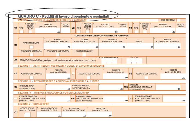 730 2019 quadro c redditi di lavoro dipendente e assimilati