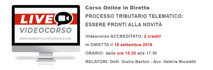 Corso online in diretta processo tributario telematico