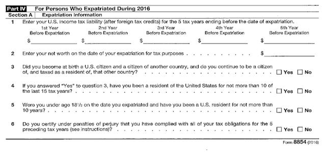 Exit Tax Form 8854