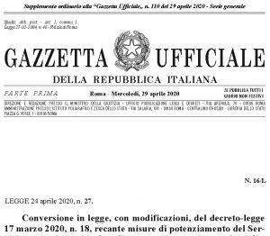 conversione dl Cura Italia in Legge