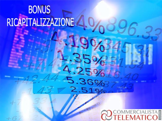 crediti ricapitalizzazione società bonus ricapitalizzazione
