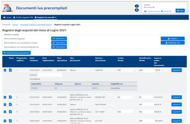 Visualizza integra e convalida registri acquisti