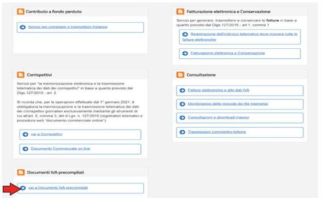 Documenti IVA precompilati nel portale Agenzia Entrate